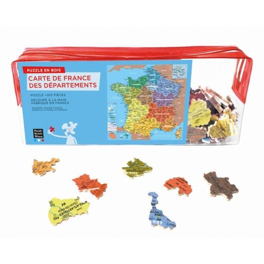 Découpes aux formes des départements. Nouvelles régions différenciées par couleurs.